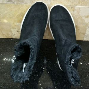 GIRLS Black suede & fur ankle boots